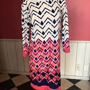 Haani Career Geometric Patterned Dress Pink